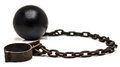 Ball and chain with low depth of field on white background Stock Image