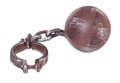 Ball and chain over white background Royalty Free Stock Image