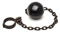 Ball and chain on white background Stock Image
