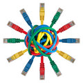Ball of colored cables with network plugs Royalty Free Stock Images