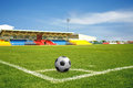 A ball on corner field green grass of sport Royalty Free Stock Photography