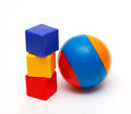 Ball cubes three color blue yellow red Stock Photo