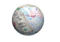 Ball of different banknotes world paper money or sphere Stock Photos