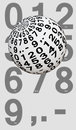 Ball with digits from zero to nine white decimal point and dash in front of a list Royalty Free Stock Photo