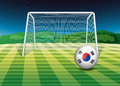 A ball at the field with the flag of south korea illustration Royalty Free Stock Photo