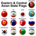 Ball flags eastern and central asian state Stock Images