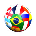 Ball with flags soccer of the world Royalty Free Stock Images