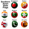 Ball flags southern asian state shape Royalty Free Stock Photo