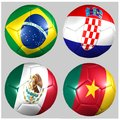 Ball with flags of the teams in Group A World Cup 2014 Stock Image