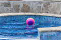 The ball floating in a pool colorful Royalty Free Stock Image
