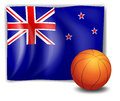 A ball in front of the flag of new zealand illustration on white background Stock Photo