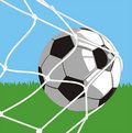 Ball in goal - football Stock Photography