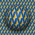 Ball with a golden lightnings blue pattern rolls along golden lightnings blue surface. Abstract vector optical illusion