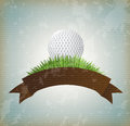 Ball golf over vintage background vector illustration Royalty Free Stock Photo