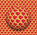 Ball with a hearts pattern rolling along the red hearts surface. Abstract vector optical illusion illustration