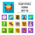 Ball, helmet, bat, uniform and other baseball attributes. Baseball set collection icons in flat style vector symbol Royalty Free Stock Photo