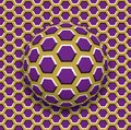 Ball with a hexagons pattern rolling along the hexagons surface. Abstract vector optical illusion illustration