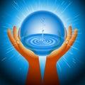Ball Magic Ecology Water Hand Flash Light Background Royalty Free Stock Photo