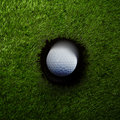 Ball near Hole Golf Background Royalty Free Stock Photo