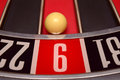 Ball in number nine at the roulette wheel casino close up details Royalty Free Stock Photography