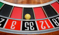 Ball in number thirty five winning at roulette wheel Royalty Free Stock Image