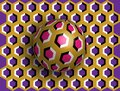 Ball optical illusion clipart. Optical illusion of movement. A sphere is spinning around a moving floor. Abstract fantasy 3D Royalty Free Stock Photo