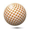 Ball with orange stars isolated. Royalty Free Stock Photo