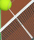 Ball over tennis net unique view of a flying a clay court Royalty Free Stock Image