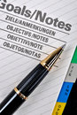 Ball pen and goals page Royalty Free Stock Images