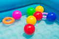 Ball plastic in tub for bathing children Royalty Free Stock Photo