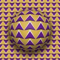 Ball with a purple arrows pattern rolls along purple arrows surface
