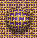Ball rolls along surface. Abstract vector optical illusion illustration. Purple bows on golden pattern motion background