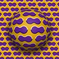 Ball rolls along surface. Abstract vector optical illusion illustration. Purple clouds on golden pattern motion background