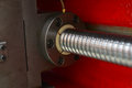 Ball screw shaft close up of leadscrew on machine using as precision linear actuator Stock Photo