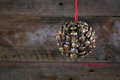 Ball Shape Pine Cone Christmas Decoration on Old Rustic Backgrou Royalty Free Stock Photo