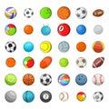 Ball sports icon set, cartoon style