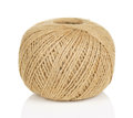 Ball of string round brown with reflection on white background Royalty Free Stock Images