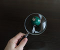 Ball trough a magnifying glass with chinese yin yang symbol hand held Royalty Free Stock Image