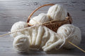 Ball of yarn and knitting on a table Royalty Free Stock Photo