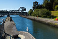 Ballard lock entrance and exit boat vessal Royalty Free Stock Photo
