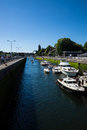 Ballard lock looking down the canal view of from gate Royalty Free Stock Photos
