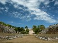 Ballcourt of the maya cite uxmal yucatan mexico Stock Photo