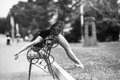 Ballerina bends back through the bench Royalty Free Stock Photo