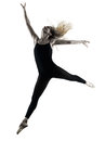 Ballerina dancer dancing woman  isolated silhouette Royalty Free Stock Photo