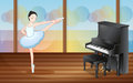A ballerina dancing near the piano illustration of inside studio Royalty Free Stock Photography