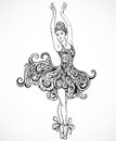 Ballerina with floral ornament dress. Vintage black and white hand drawn vector Royalty Free Stock Photo