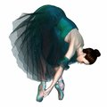 Ballerina in Green Tutu and Pointe Shoes Royalty Free Stock Photography