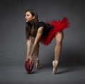Ballerina with oval ball Royalty Free Stock Photo