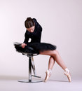 Ballerina posing in black outfit Stock Images