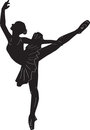 Ballerina print outline silhouette dance Royalty Free Stock Image